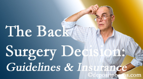 Spengel Chiropractic realizes that back pain sufferers may choose their back pain treatment option based on insurance coverage. If insurance pays for back surgery, will you choose that?