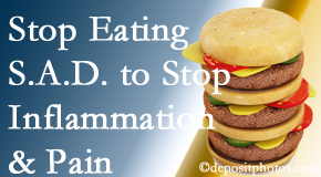 McHenry chiropractic patients do well to avoid the S.A.D. diet to decrease inflammation and pain.