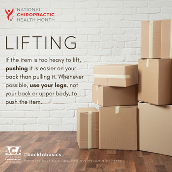 Spengel Chiropractic advises lifting with your legs.