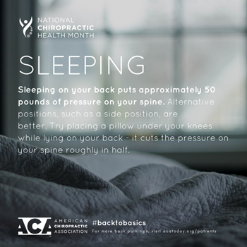 Spengel Chiropractic recommends putting a pillow under your knees when sleeping on your back.